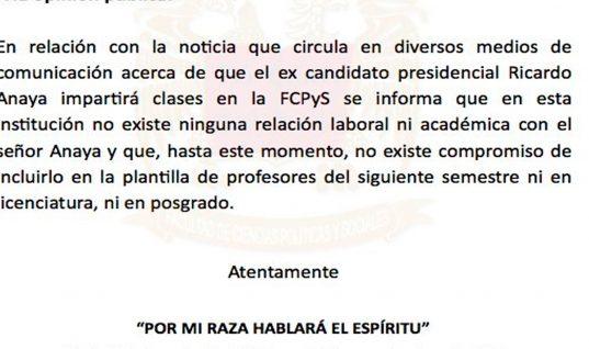 UNAM desmiente que Anaya dará clases en universidad